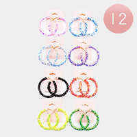 12PCS - Delicate Colour Star Glitter Cluster Hoop Earrings