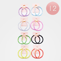 12PCS - Delicate Colour Glitter Cluster Hoop Earrings