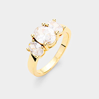 Gold Plated Triple Oval Cubic Zirconia Ring