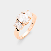 Rose Gold Plated Triple Oval Cubic Zirconia Ring