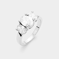 Rhodium Plated Triple Oval Cubic Zirconia Ring