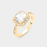Gold Plated Square Cubic Zirconia Halo Statement Ring