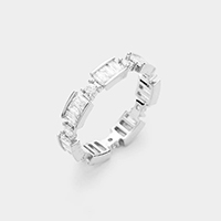 Rhodium Plated Crystal Statement Ring