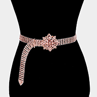 Crystal Floral Buckle Accented Rhinestone Belt