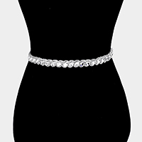 Oval Crystal Rhinestone Sash Ribbon Bridal Wedding Belt / Headband