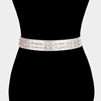 Crystal Accented Sash Ribbon Bridal Wedding Belt / Headband