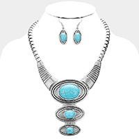 Antique Metal Round Turquoise Stone Drop Bib Necklace