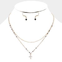 Cubic Zirconia Cross Pendant Seed Bead Layered Necklace
