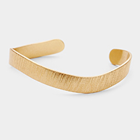 Stripe Textured Brass Metal Cuff Bracelet