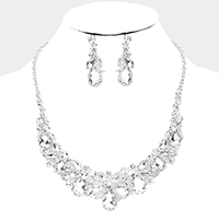 Pear Crystal Vine Collar Evening Necklace