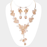 Floral Crystal Rhinestone Vine Evening Necklace