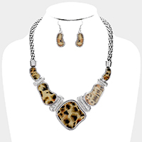 Irregular Animal Pattern Textured Metal Collar Necklace