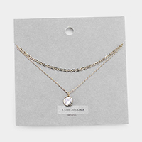 Brass Metal Round Cubic Zirconia Chain Layered Necklace