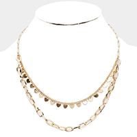 Heart Dangle Chain Layered Metal Necklace