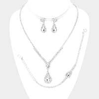 3PCS - Pear Crystal Accented Rhinestone Necklace Jewelry Set