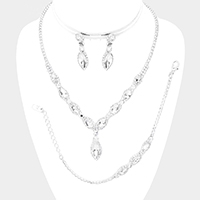 3PCS - Marquise Crystal Accented Rhinestone Necklace Jewelry Set