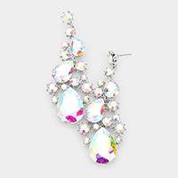 Pear Crystal Rhinestone Vine Evening Earrings