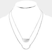 Half Round Pendant Layered Metal Necklace