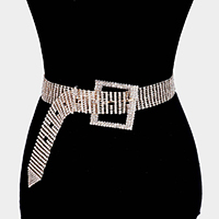 Square Crystal Rhinestone Buckle Accented Belt