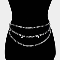 Floral Crystal Accented 3 Row Chain Layered Belly Waist Belt