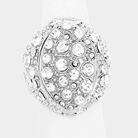 Round Rhinestone Crystal Pave Dome Stretch Ring