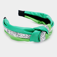 Glitter Faux Leather Knotted Headband