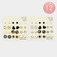12 Set of 12 - Heart Leopard and Pearl Mixed Stud Earrings