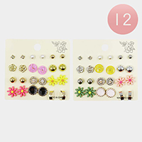 12 Set of 12 - Flower and Pearl Mixed Stud Earrings