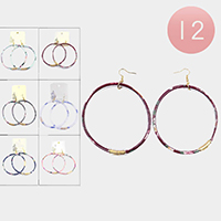 12PCS - Floral Pattern Jelly Tube Open Circle Earrings