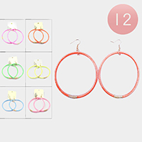 12PCS - Glitter Jelly Tube Open Circle Earrings
