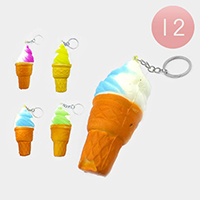 12PCS - Soft Ice Cream Squishy Key Chains