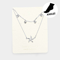 Starfish Rhinestone Layered Anklet