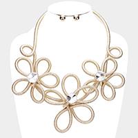 Knotted Triple Floral Bib Necklace