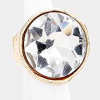 Chunky Round Crystal Textured Metal Stretch Ring
