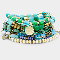 10PCS - Semi Precious Ball Multi Bead Stretch Layered Bracelets