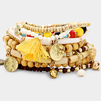 10PCS - Wood Multi Bead Tassel Stretch Layered Bracelets