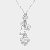 Rhinestone Pave Crown Heart Key and Lock Pendant Necklace