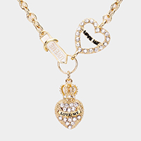Rhinestone Pave Love Me Crown Heart Pendant Toggle Necklace