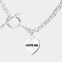 Love Me Heart Pendant Chain Toggle Necklace