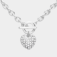 Crystal Rhinestone Pave Heart Pendant Chain Toggle Necklace
