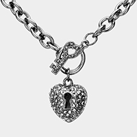 Rhinestone Pave Heart Key and Lock Pendant Chain Toggle Necklace