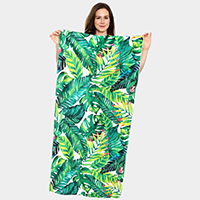 Tropical Leaves Pattern Beach Towel and Drawstring Bag