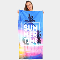 Summer Time Beach Towel and Drawstring Bag