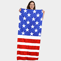 America Flag Pattern Beach Towel and Drawstring Bag