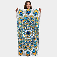 Peacock Pattern Beach Towel and Drawstring Bag