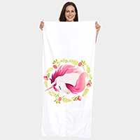 Unicorn Pattern Beach Towel and Drawstring Bag