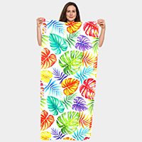 Tropical Leaf Pattern Beach Towel and Drawstring Bag