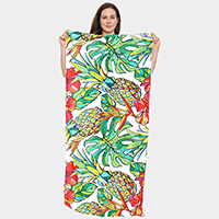 Tropical Pineapple Pattern Beach Towel and Drawstring Bag
