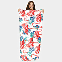 Flamingo Pattern Beach Towel and Drawstring Bag