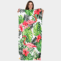 Tropical Flamingo Pattern Beach Towel and Drawstring Bag